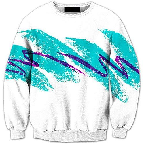 WDDGPZWY 3D Hoodie Kapuzenpullover Langarm Sweatshirt Kapuzenjacke Männer Männer Aqua Blue Stripes Drucken Pullover Rollkragen E-0007, XL -