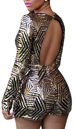 sunifsnow Stylism Boutique Combinaison Sexy à Paillettes col en V taille haute Femme à Manches Longues pour Femme Noir