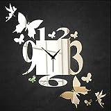 CHLWW La Moda La Personalidad Simple Plástico Espejo Reflexión Vinilos Decorativos Sala De Estar Mudo Hada Mariposa Decoración Reloj De Pared