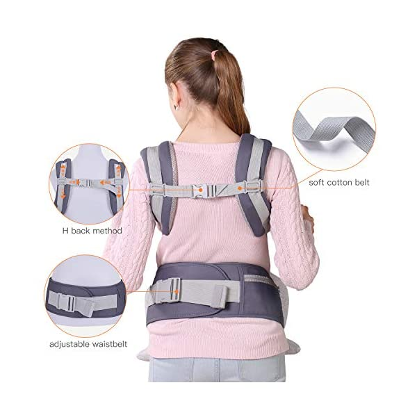 Infant Toddler Baby Carrier Wrap Backpack Front and Back, Hip Seat & Hood, Soft & Breathable Cotton, Cool Air Mesh, Grey tiancaiyiding ❤ Ergonomic Design: Wide and thick backpack straps help relieve stress . Easy to put on or take off. ❤ M shape Position: Stop hurting your baby's legs. Keep blood circulation in normality. ❤ All-round Support: Simple and thus strong structure. 360° wraps the baby against falling out. Collapsible hood for wind and sun protection 4
