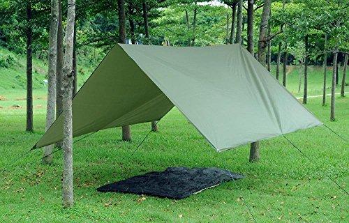 51qjBf1%2BQAL - theBlueStone 3m x 3m - Waterproof, Lightweight,Ripstop Compact & Strong Green Tarpaulin for Camping