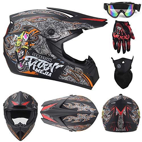 CX AMZ Professionelle Downhill-Helme für Off-Road-Fahrräder,Hyun Cool-Helm für Erwachsene mit persönlichem Mountainbike-Charakter,Racing-Helme für ATVs,Helmetset,XL