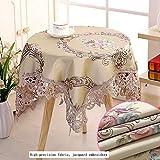 Baumwolle Tischdecke,Rechteckige Quadratische Runden Tischdecke,Spitze Tischdecke,Esstisch Coffee Table Tischtuch Tischwäsche,Elegante Floral Stickerei Tischdecke Tischtuch Tischwäsche-W 80*80cm
