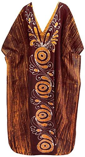 La Leela maxi couvrir robe caftan longue plage usure lâche coton v robe de cou maillot de bain Marron