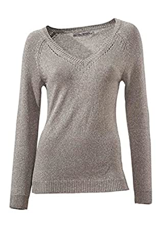 Ashley-Brooke, Damen-Pullover-, V-Ausschnitt, taupe-silber Größe 46