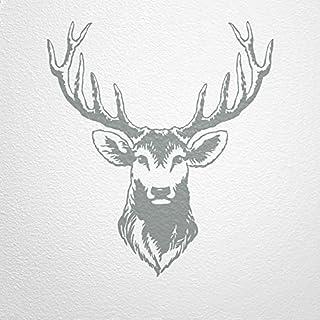 WANDfee® Wall Sticker Deer stag Head with Antlers Grey 85 x 75 cm