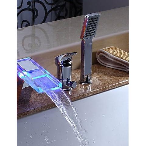 KISSRAIN® Grifo de Bañera - Contemporáneo - LED / Cascada / Ducha Incluido - Latón (Cromo)