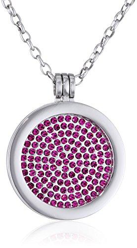 Morella® Damen Halskette 70 cm Edelstahl und Anhänger mit Coin Glitzersteine pink 33 mm im Schmuckbeutel