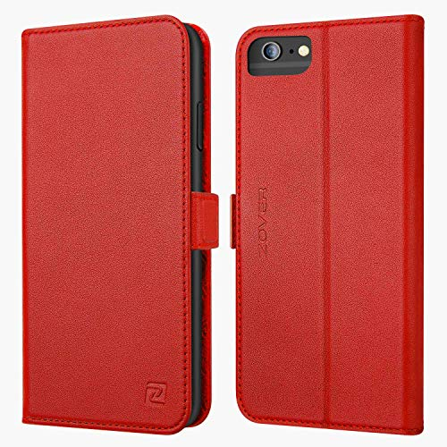 ZOVER iPhone 6S Plus Hülle iPhone 6 Plus Hülle Echt Leder Tasche für iPhone 6S/6 Plus(5.5 Zoll) Handyhülle im Bookstyle mit Magnet Kartenfächer Standfunktion Rot