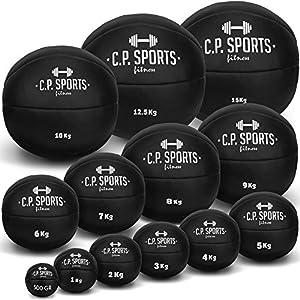 C.P. Sports Medizinball Leder Braun oder Schwarz K5, Gewichtsball, Medizinbälle, Crossfit Ball – 1kg – 15kg