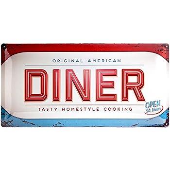 Nostalgic Art Tin Sign With Retro American Diner