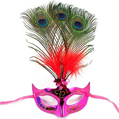 Maskerade Maske Neue Frauen Elegante Pfau Feder Maske Mädchen Kostüm Sexy Prom Party Halloween Weihnachten Masquerade Tanz Masken Zubehör Packung von 2 , 3 (Halb Maske Mit Pfauenfedern)