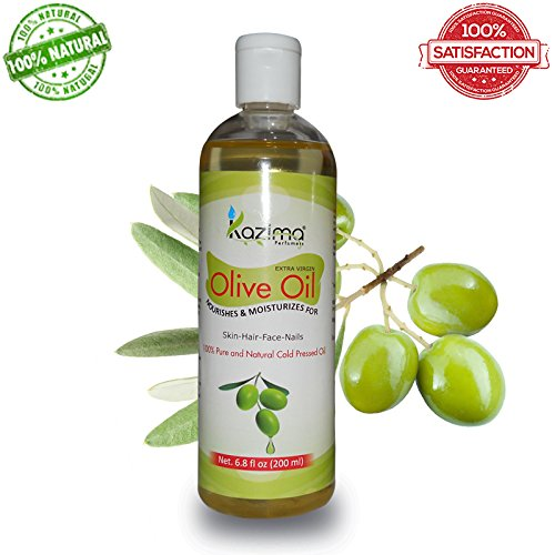 Kazima Olive Carrier Oil 200 Ml - 100% Pure Natural Cold Pressed Carrier Oil , Aromatherapy & Therapeutic Grade - Ideal For Hair Loss Treatment