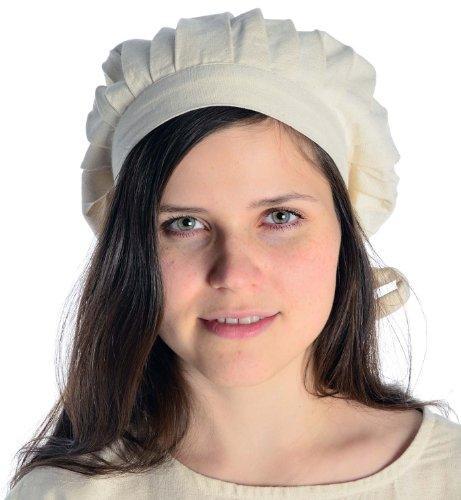Hemad cotone medievale cappello con nastri – beige