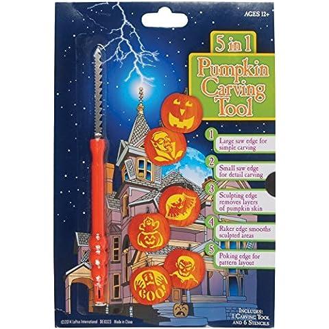 Loftus International 5-in-1 Multi Purpose Tool & Stencils Halloween Pumpkin Carving Kit (7 Piece), Orange by Loftus