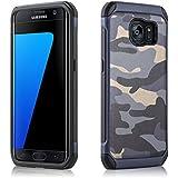 Coque Galaxy S7 Edge Coque militaire Galaxy S7 Edge | JammyLizard | Coque incassable renforcée militaire coque camouflage pour Samsung Galaxy S7 Edge, Bleu