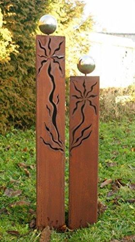 floristikvergleich.de Gartendeko Rost Säulen Dreiecke mit Muster 100 +80 cm