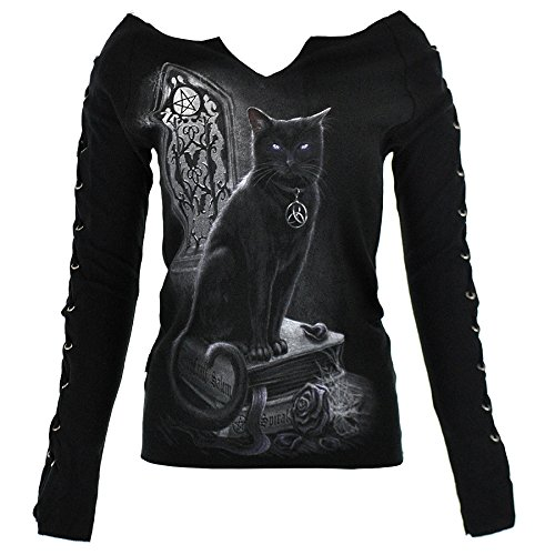 Top Pizzo Up Spiral Direct Witch Cat (Nero) - Large