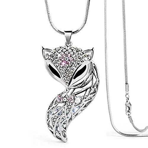 Lange Halskette FOX Fuchs Silber Kirstall Schwarz Augen Schwanz Damen (Lang Fox)