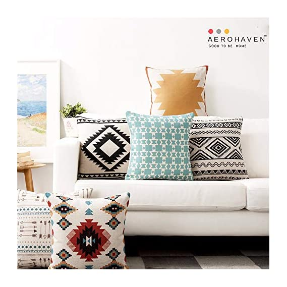 AEROHAVENTM Set of 5 Cotton Designer Decorative Throw Pillow/Cushion Covers - (16 x 16 inch)