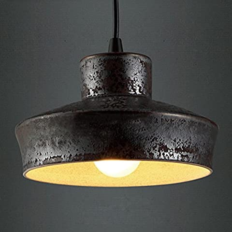 """BAYCHEER 6.2""""Wide Aged Black Rust Industrial Country Pendant Light Rustic Retro Hanging Light"""