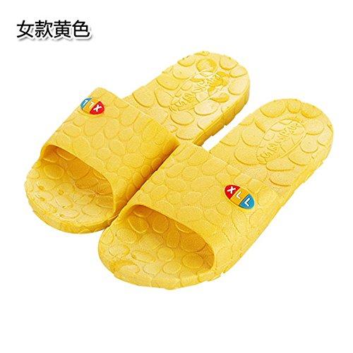 Des chaussons les hommes et les femmes des couples cool pantoufles antidérapantes intérieur bas épais chaussons de bain baignoire douche fuite yellow