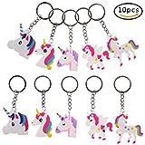 JETTINGBUY 10PCS Assorted Unicorn Keyrings Key Chain Keyring Charm