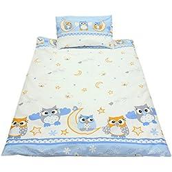 TupTam Kinderbettwäsche Set Gemustert 2 teilig, Farbe: Eulen 2 Blau, Größe: 135x100 cm