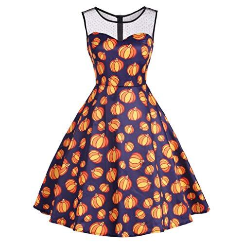 (MIRRAY Damen Vintage O-Neck Print Ärmelloses Halloween Mid-Calf Party Swing Kleid Halloween Kostüm)