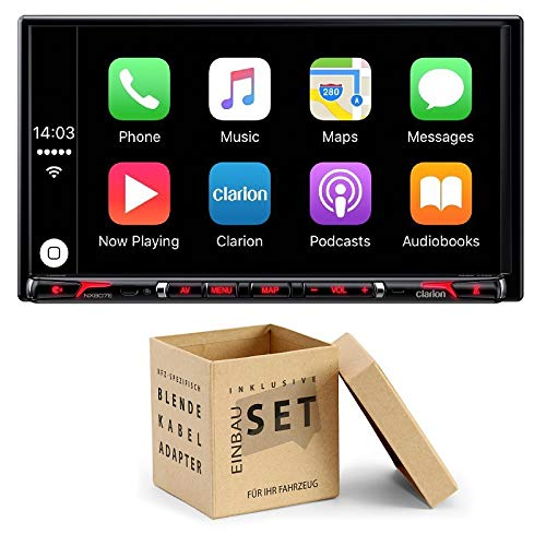 Clarion NX807E Radio Navigation Apple CarPlay mit Einbauset für GM Hummer H3 2005-2010 (Radio Hummer H3 2006)