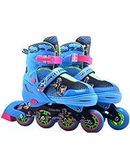 Farbenfrohe Inlineskates für Kinder und Erwachesene - Leuchtende Frontrollen - Größenverstellbar - 4 Farben aur Auswahl