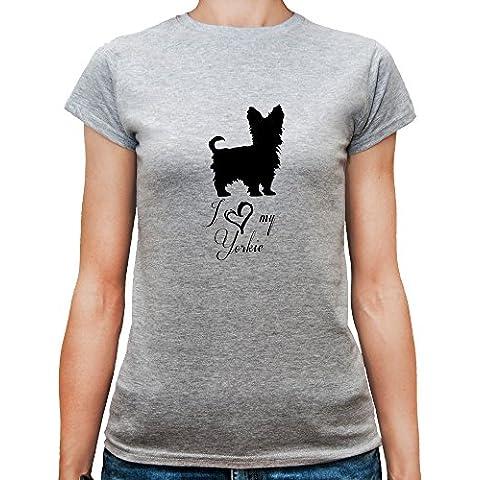 T-shirt da donna con I Love My Yorkie Dog Breed Illustration stampa.
