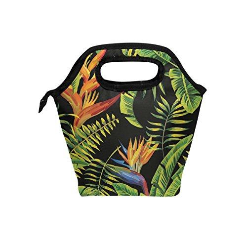 jstel Tropic Palm Banana Leaf und Pflanzen Lunch Bag Handtasche Lunchbox Frischhaltedose Gourmet Bento Coole Tote Cooler Warm Tasche für Reisen Picknick Schule Büro