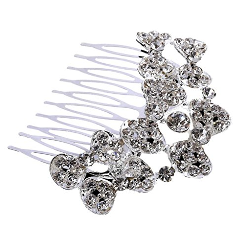 HCFKJ Boutique Braut Hochzeit Blume Haar Kamm Stifte Braut-Accessoires (Silber) (Mädchen-euro-boutique)