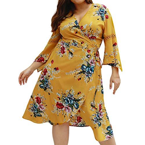 Lazzboy Womens Plus V-Ausschnitt Blumendruck Flare ärmel Verbandkleid Damen Maxikleid Große Kleid Halbarm Abendkleid übergröße Spitze Partykleider Cocktailkleider Ballkleid(Gelb,5XL)