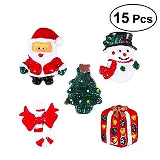 ROSENICE Adornos Navideños Muñeco de Nieve Árbol de Navidad Papá Noel Resina Miniaturas Decoración Navideña 15 Unidades