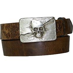 Fronhofer cinturón calavera, 4 cm, hebilla de plata mate