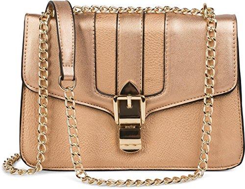 styleBREAKER box bag borsa da spalla in design messenger con chiusura megnetica e catena, borsetta, borsa, donna 02012200, colore:Marrone Rosa Oro