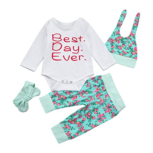 URSING Neugeboren Säugling Baby Brief Gedruckt Spielanzug Tops + Blumen Hose Sport Hosen + Attraktiver Hut + Niedlich Bogen Stirnband Fallen Winter 4Pcs Outfits Kleider Set (3-6Monate, (3 Boy Kostüme Monate 0 Baby)
