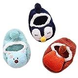 3 Paar Babysocken Rutschfeste Socken Cartoon Babyschuhe Krabbelschuhe Niedliche Tiermotive für 0-36 Monate Baby