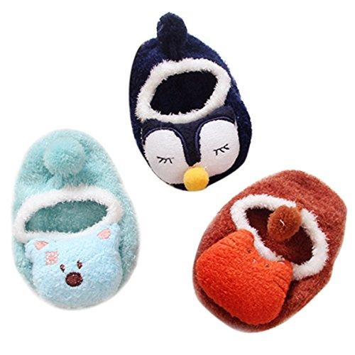 Happy Cherry - Calcetines Antideslizante de Goma para Bebés Zapatillas de Casa para Niños Niñas Anti-slip Modelo de Animal Diseño Lindo Moderno para Invierno Entretiempo Frío - 1-2 Años