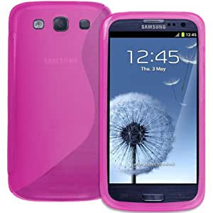Hybrid XYLO-GEL Skin / Case / Cover for the Samsung Galaxy S3 Mobile Phone Range (Galaxy S3 S 3 III i9300, Pink S-Curve)