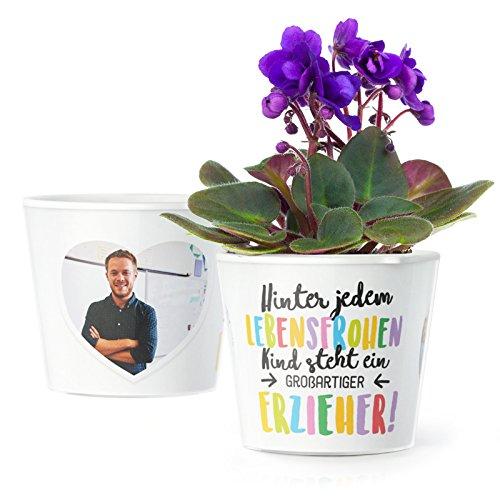 MyFacepot Erzieher Geschenk Blumentopf (ø16cm) | Zum Kita Abschluss oder Geburtstag mit Rahmen für Zwei Fotos (10x15cm) | Hinter jedem lebensfrohen Kind Steht eine großartiger Erzieher!
