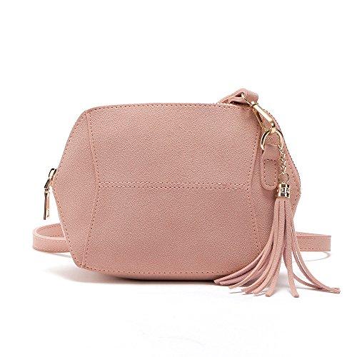 Faux Suede Tote Bag (TIFIY Damen Mode Fashion Solide Geometrische Form Quasten Hang Dekoration Faux Suede Mini-Tasche Crossbody Schultertasche Handtasche Viele Farben (Rosa))