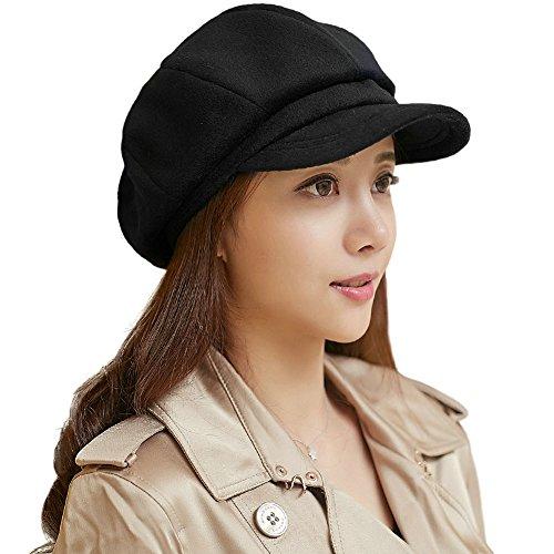 SIGGI Schirmmütze Barett Maler Mütze Damen mit Visor, 69246_Schwarz, Einheitsgröße