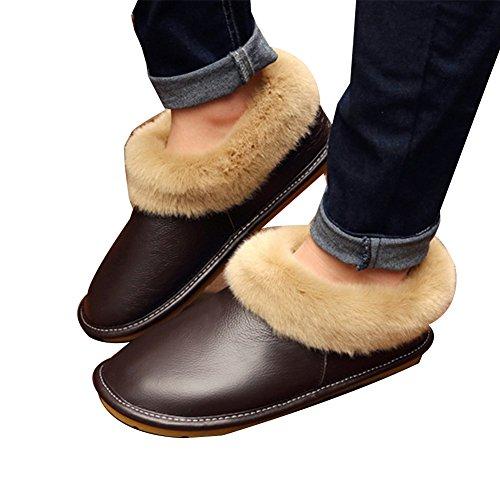 Di Scarpe Cotone Winte Cuoio Buio Di Donne Calde Signore Pantofole D'inverno Uomini Tellw Marroni WtqIUU
