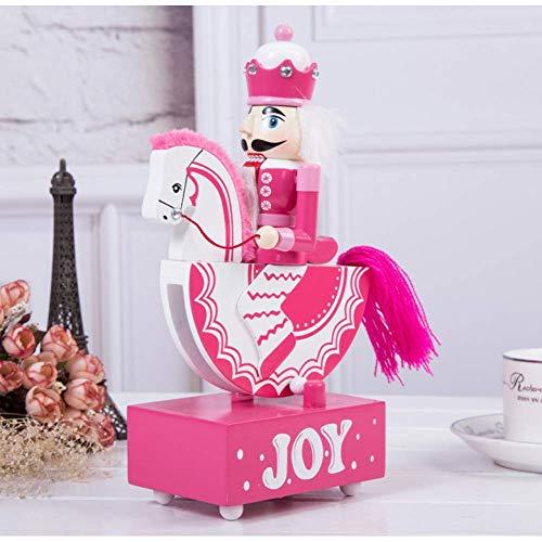 Princess Music Box (BYBAY Music Box 25Cm Pink Princess Blue Nussknacker Schaukelpferd Glockenspiel vor und nach dem Körper für Hochzeit, Weihnachten und Geburtstag, Pink)