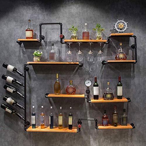 POLKMN Flaschenregal Weinregale Wand Weinschrank Holzregal Stemware Racks Retro Eisen Wasserpfeife Design Stemware Fall
