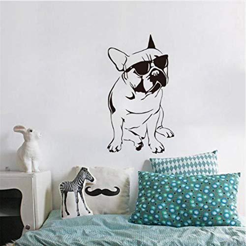 Ysain Französisch Buldog Decals Kinderzimmer Vinyl Wandaufkleber Hund Mit Sonnenbrille Nette Schlafzimmer Tapeten Wohnkultur 33 * 59 Cm