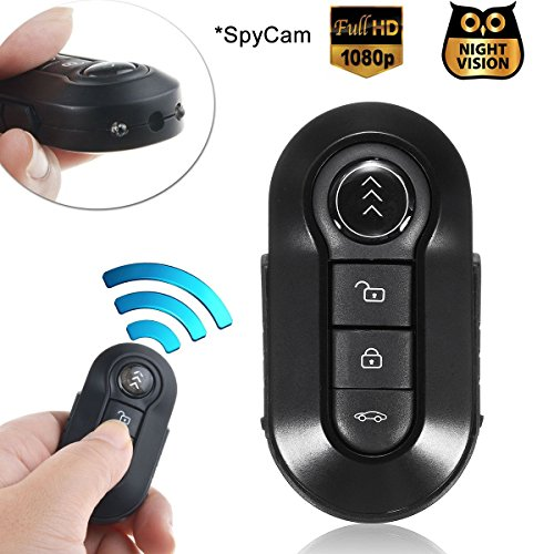 Mini cámara Oculta espía, Bysameyee 1080P Llavero cámara con visión Nocturna, Llave de Coche encubierta niñera videocámara Video Gadget en Key-Fob